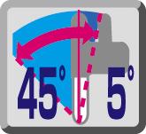 Cabezal basculante 45° izq. y 5° dcha